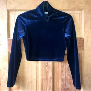 3/$20 Tobi Navy Blue Velvet Crop Top Turtle Neck